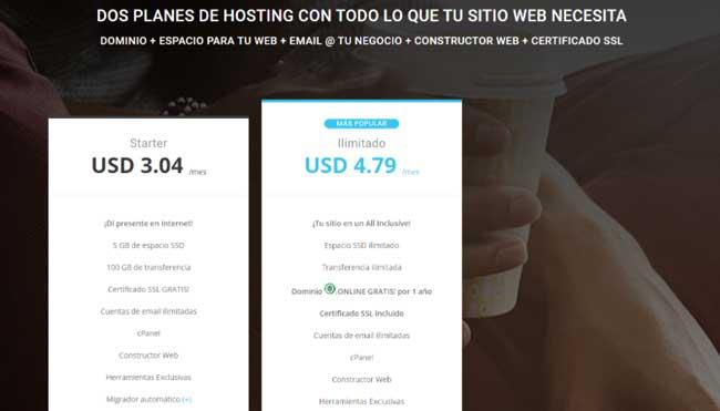 Paquete de alojamiento o plan de hosting